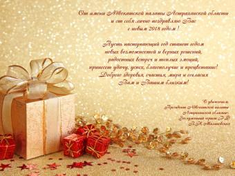 Новогоднее поздравление Президента Адвокатской палаты Астраханской области Малиновской В.Н.