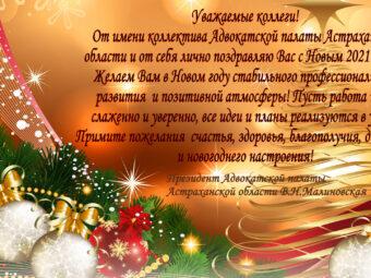 Поздравления Президента АПАО Малиновской В.Н. с Новым 2021 Годом!
